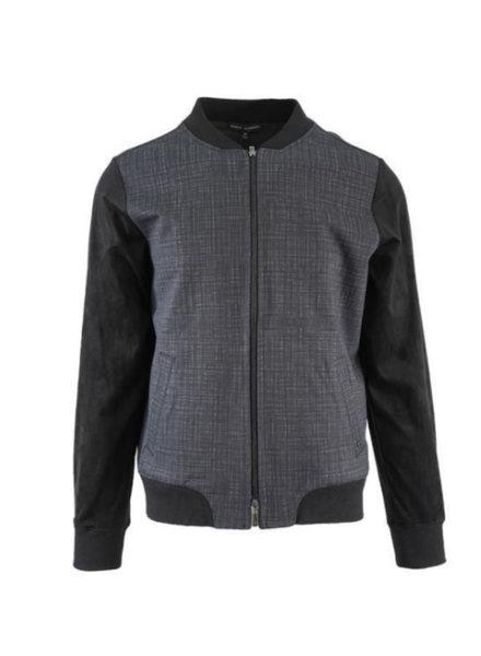 ROBERT BARAKETT Black Plaid Front Full Zip Jacket