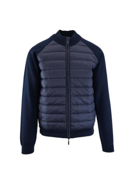 ROBERT BARAKETT Navy Quilted Front Sweater Jacket