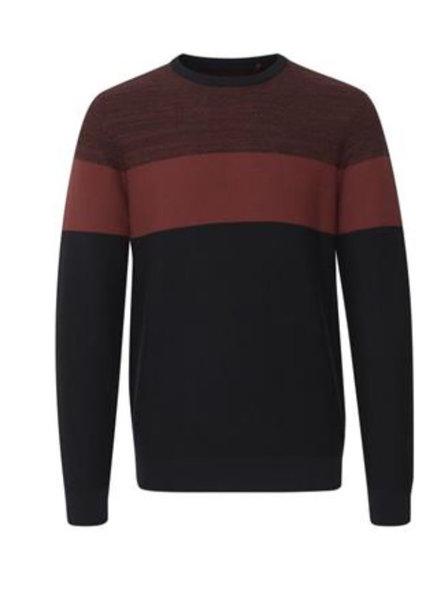 BLEND Black Rust Striped Sweater