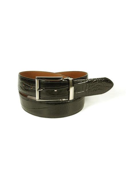 BENCHCRAFT Black Croc Print Belt