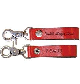 Faith Gear Faith Gear® - Women's Leather Keychain - Faith Hope Love