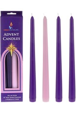 """CBC-Christmas 10"""" Purple and Pink Taper Advent Candles, Set of 4"""
