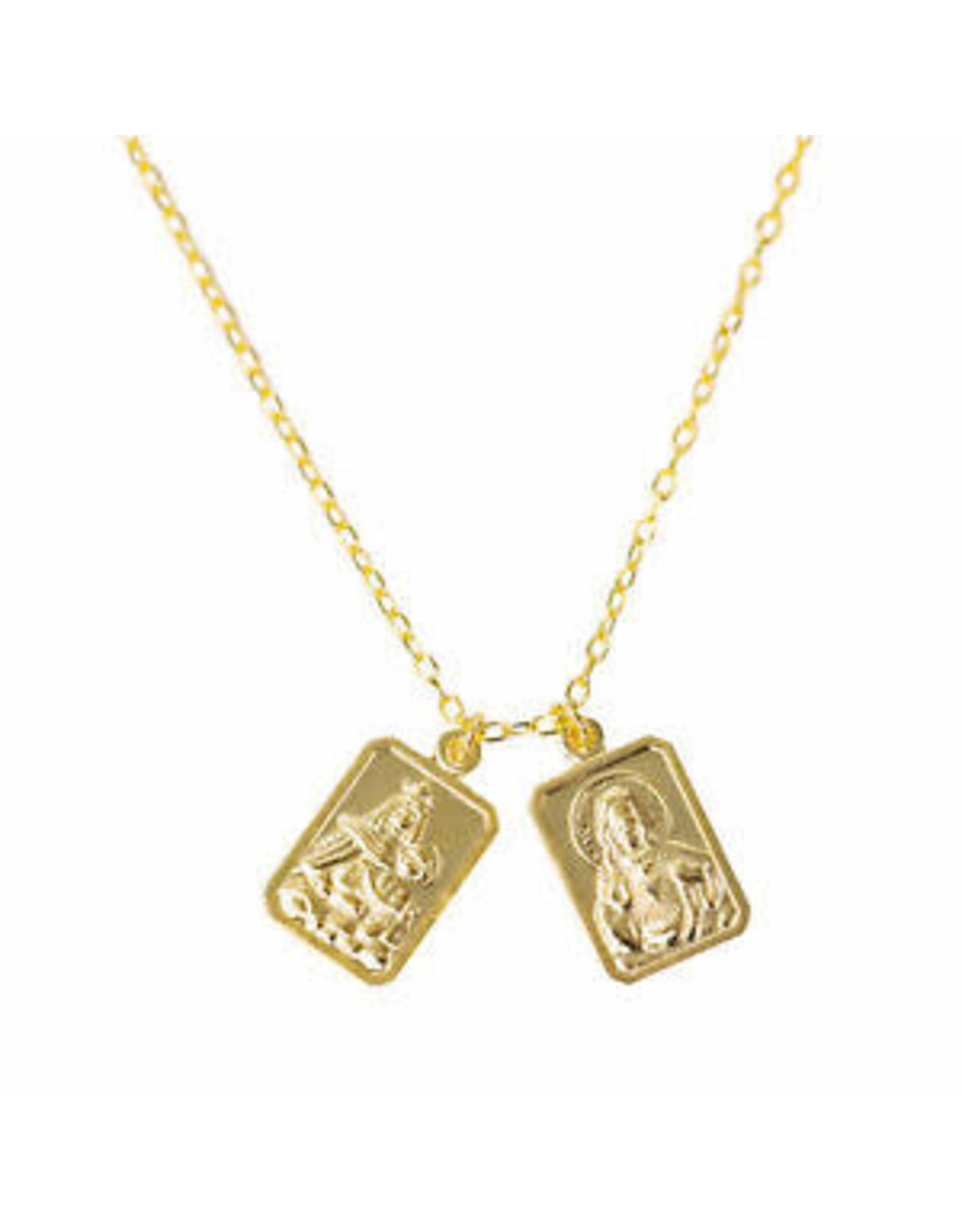"Roman 18"" Gold Double Scapular"