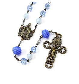 Ghirelli MEDJUGORJE QUEEN OF PEACE ROSARY WITH GENUINE MURANO BEAD, BLUE