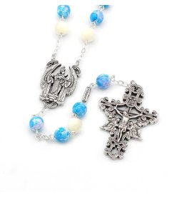 Ghirelli THE HOLY ANGELS ROSARY IN ANTIQUE SILVER WITH GENUINE MOTHER OF PEARL ACCENT BEADS