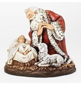 Roman Kneeling Santa with Sleeping Babe and Lamb Figure