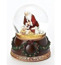 Roman Kneeling Santa Silent Night 6 x 4 inch Christmas Water Globe Decoration