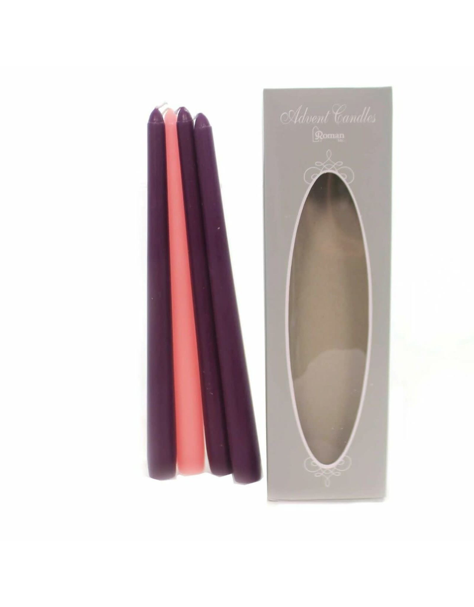 """Roman 4pc Pink and Purple Christmas Advent Taper Candles 10"""""""