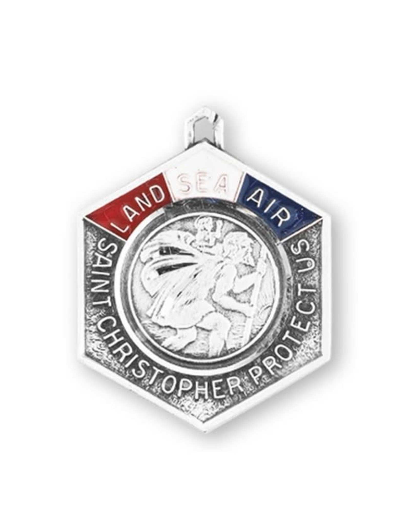 """HMH 1 - 1/8"""" x 7/8"""" St. Christopher Protect Us on Land Sea and Air Medal on 24"""" Chain, Boxed"""