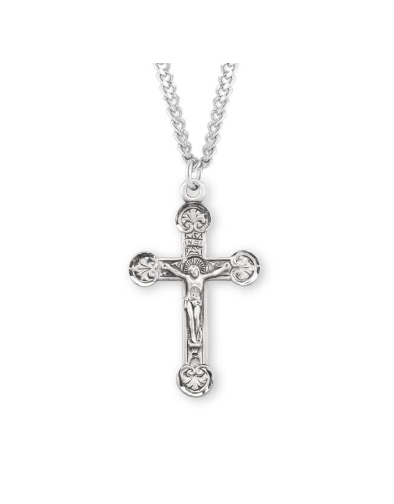 """HMH 1 1/2"""" Sterling Silver Crucifix with Flourette Tips in Antique Satin Finish Hand Engraved on 24"""" Chain, Boxed"""