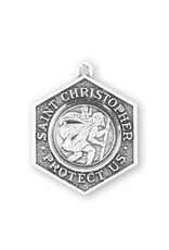 """HMH 1-1/8"""" x 7/8"""" Saint Christopher Protect Us Medal on a 24"""" Chain, Boxed"""