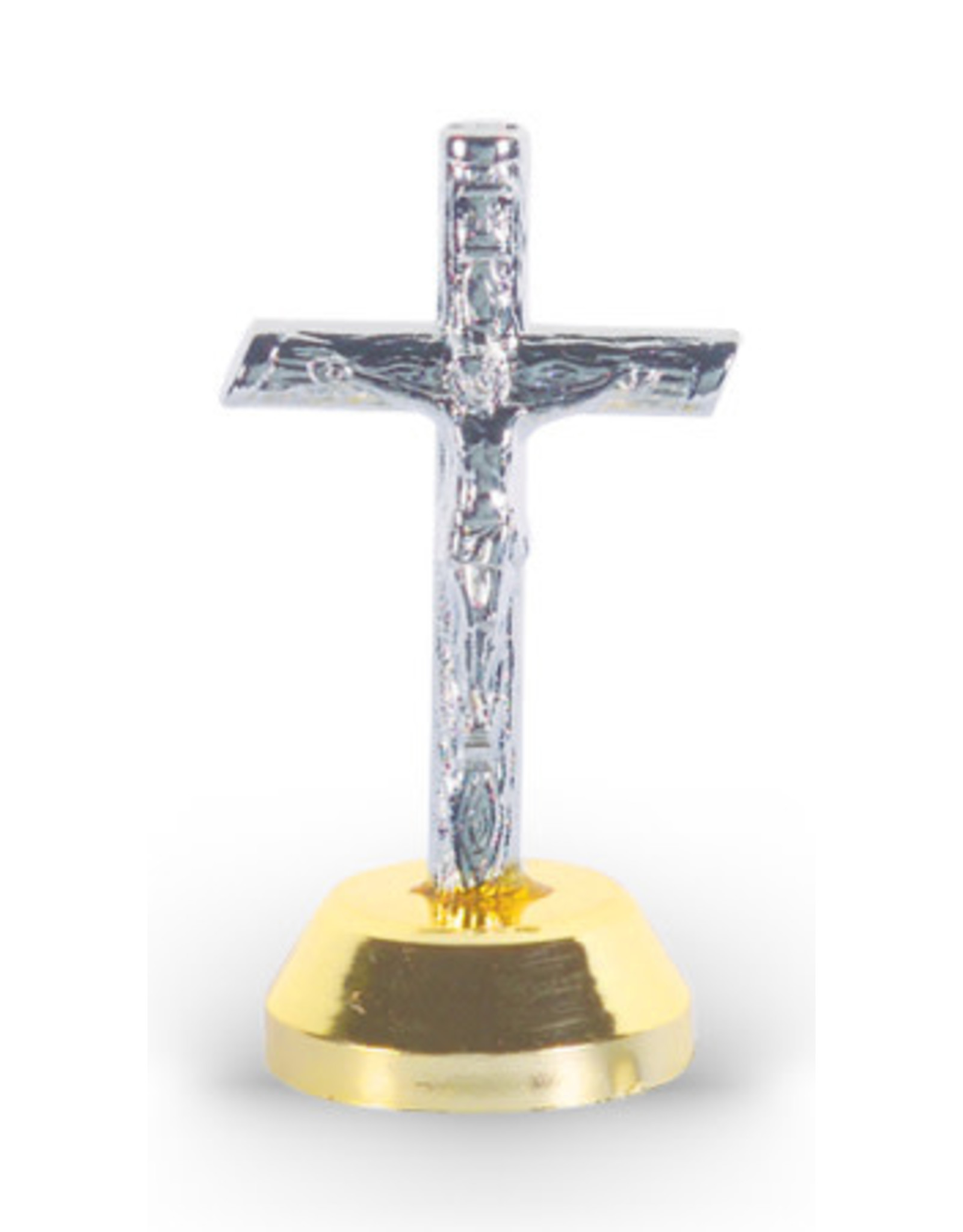 """Hirten 1 3/4"""" Wood Look Pewter Auto Crucifix with Adhesive Bottom"""