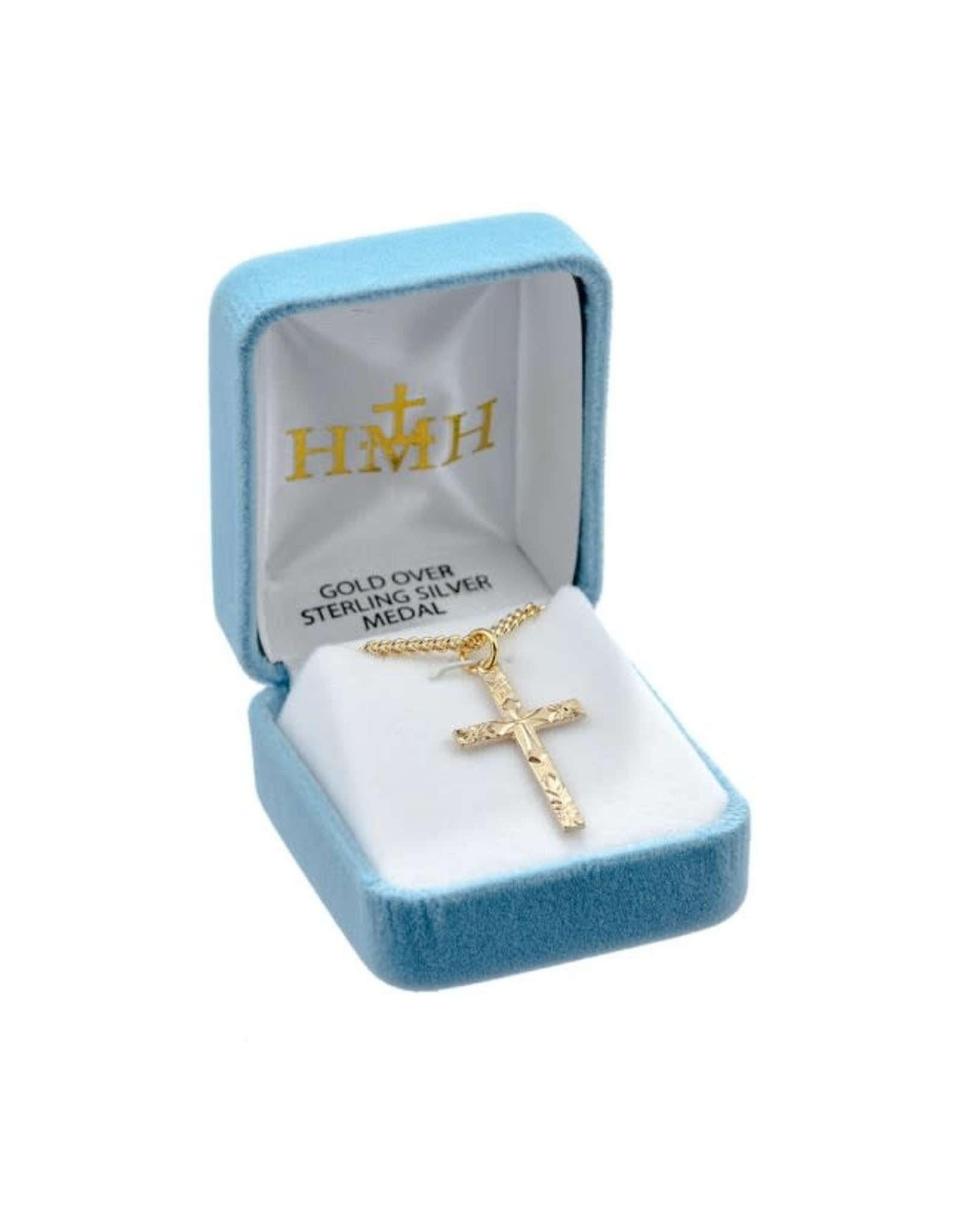"""HMH 16 Karat Gold Over Sterling Flowered Tip Cross on 18"""" Chain, Boxed"""