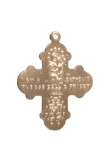 """HMH 16 Karat Gold Over Sterling Silver 4 Way Cross Medal on 24"""" Chain, Boxed"""