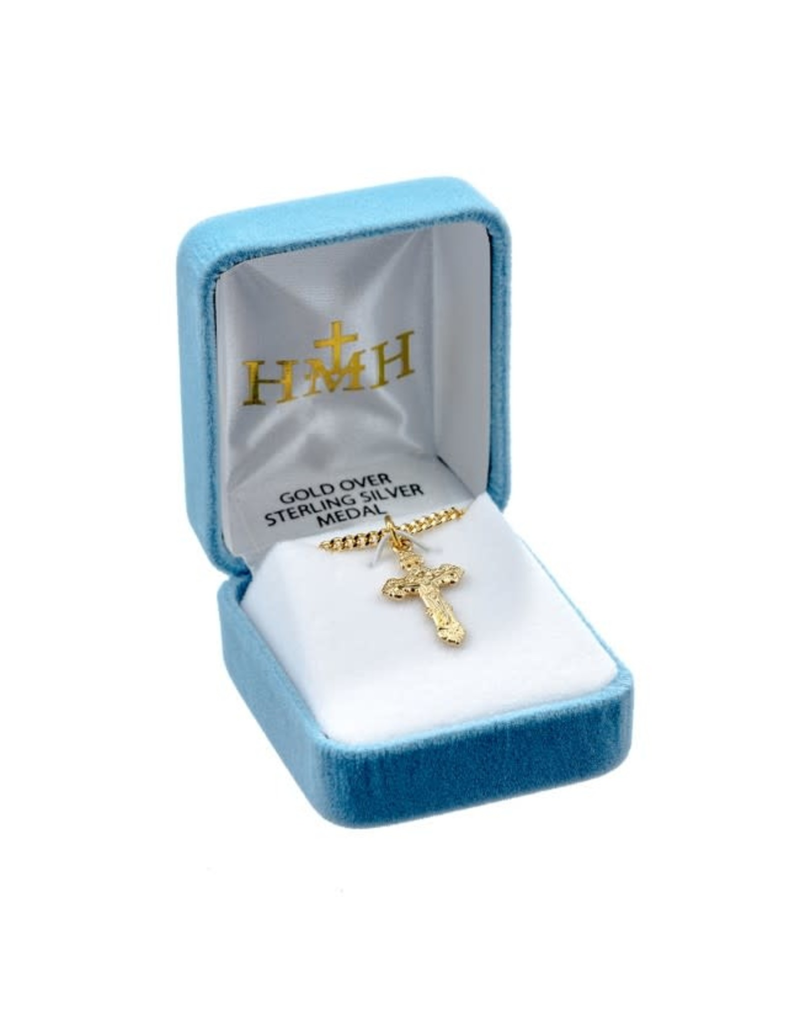 """HMH 16 Karat Gold Over Sterling Silver Baroque Style Crucifix with 18"""" Chain, Boxed"""