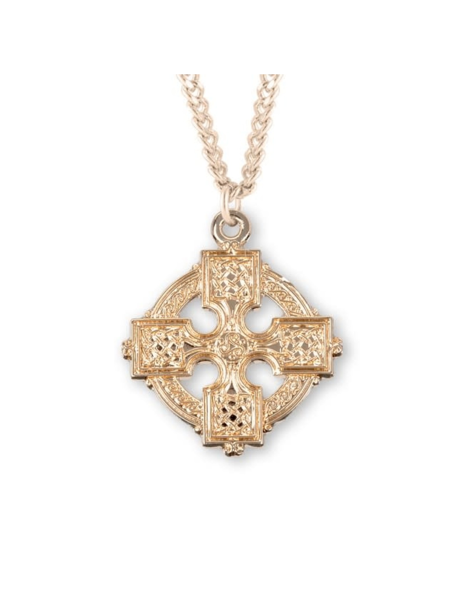 """HMH 16 Karat Gold Over Sterling Silver Celtic Cross with 20"""" Chain, Boxed"""