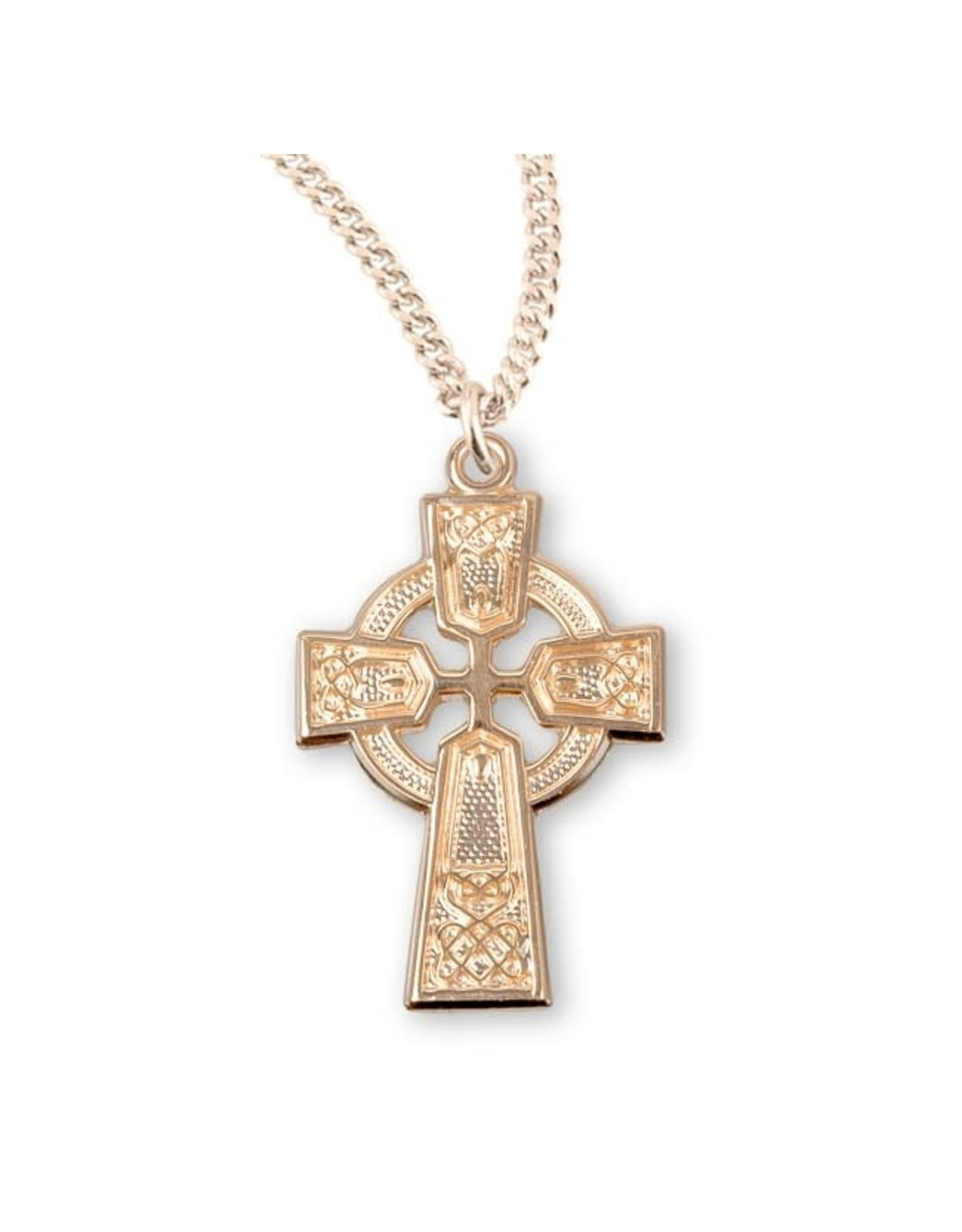 """HMH 16 Karat Gold over Sterling Silver Celtic Knot Cross on 18"""" Chain, Boxed"""