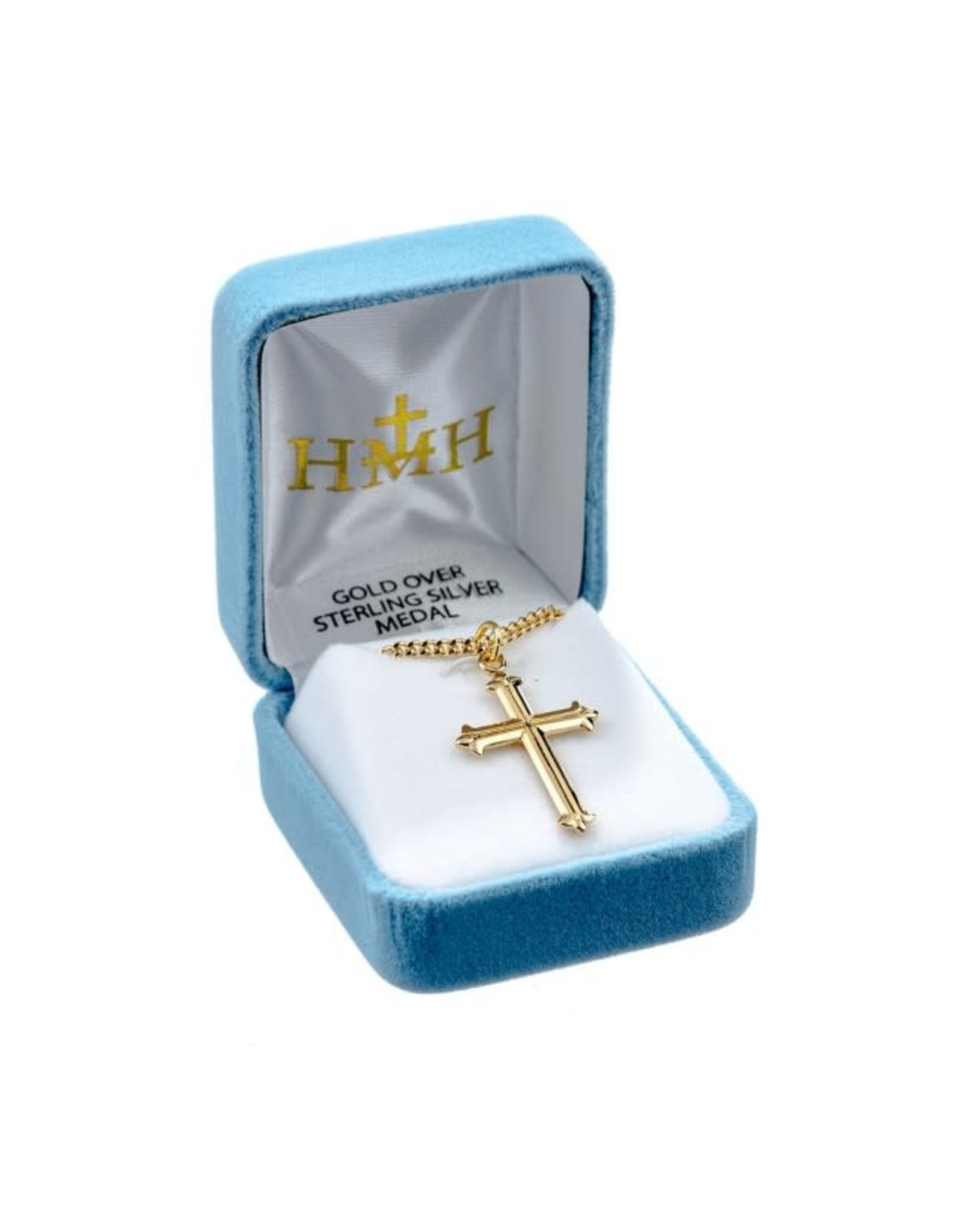 """HMH 16 Karat Gold Over Sterling Silver Cross in High Polish with Fleur De Lis Tips on 18"""" Chain, Boxed"""