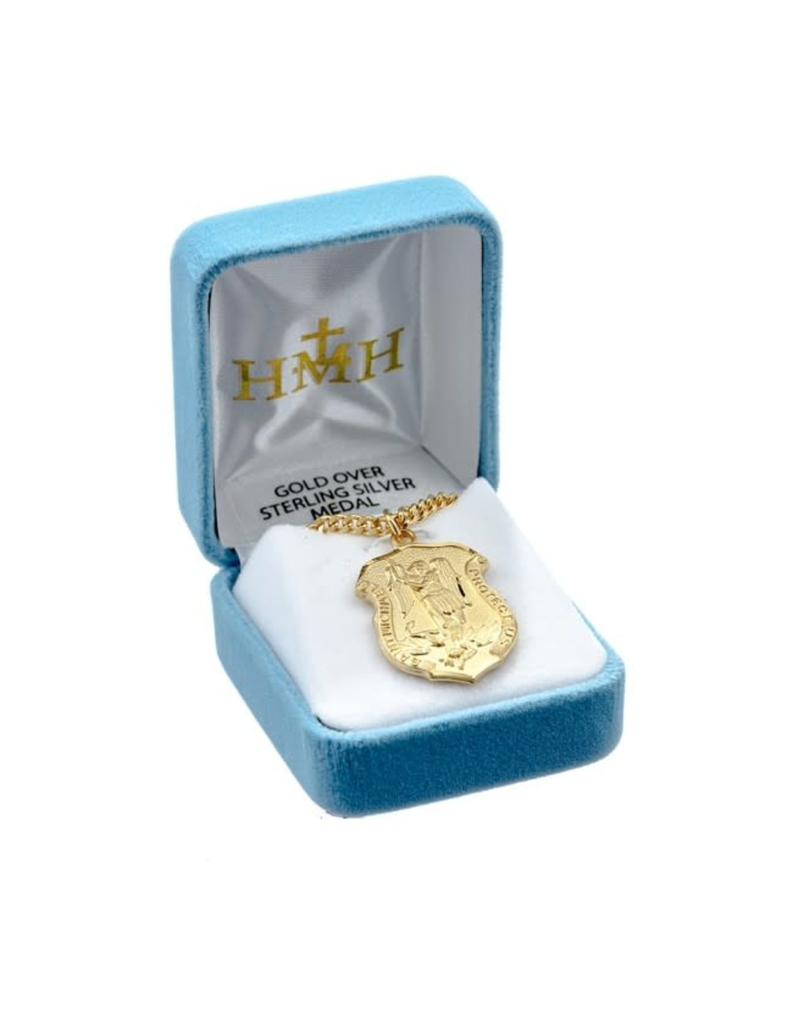 """HMH 16 Karat Gold Over Sterling Silver Large St. Michael Shield Medal on 24"""" Chain, Boxed"""