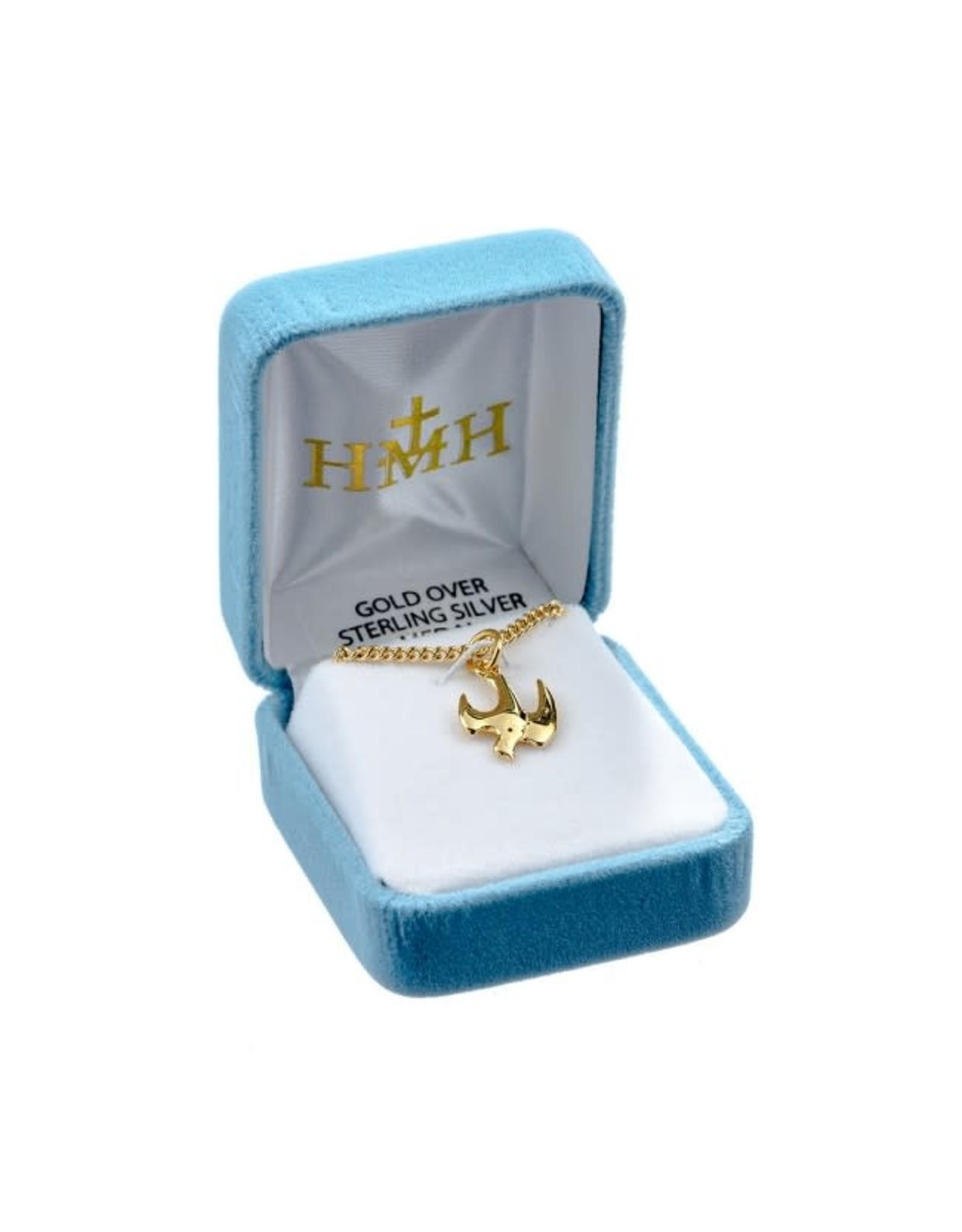 "HMH 16 Karat Gold Over Sterling Silver Medal Descending Dove on 18"" Chain, Boxed"