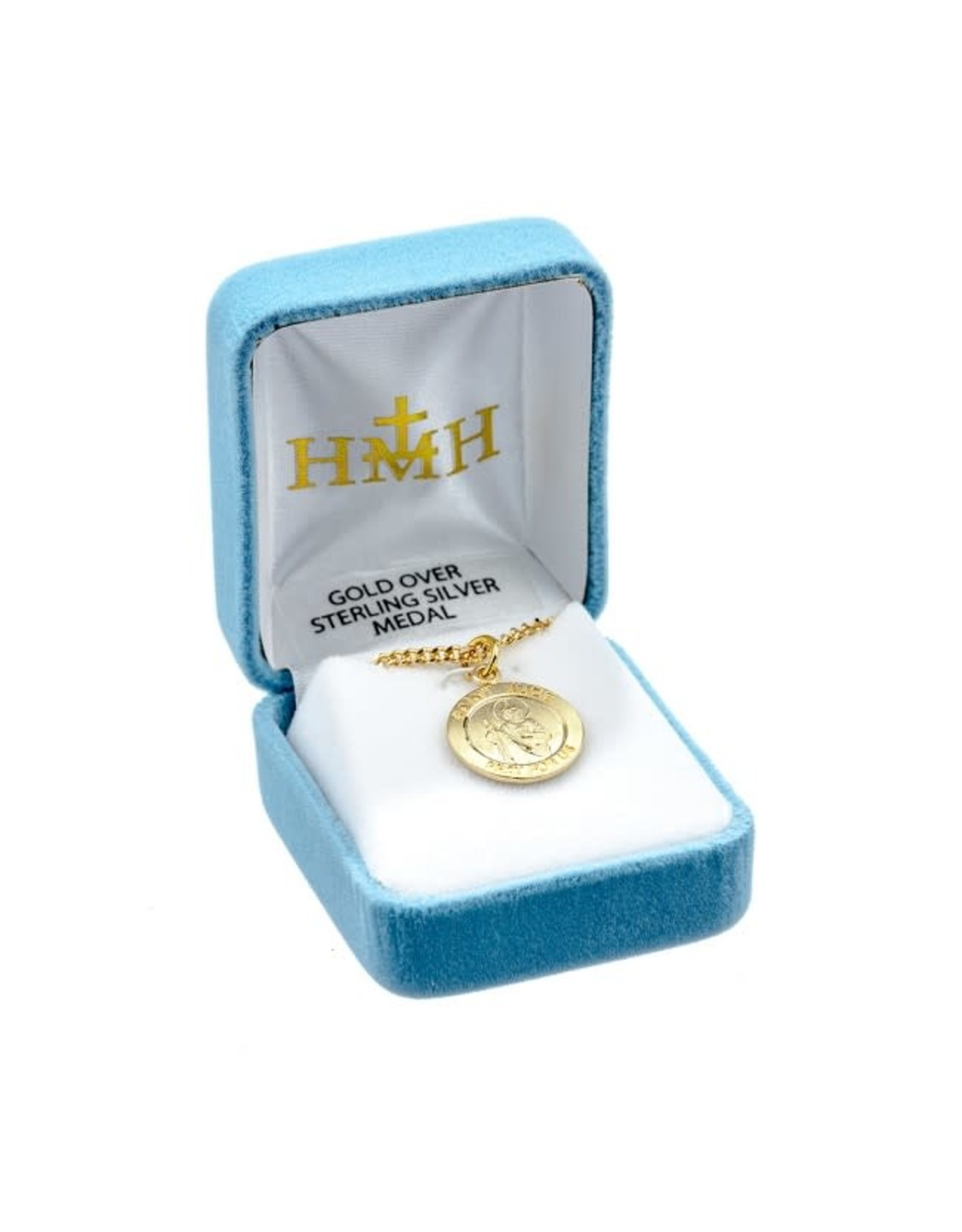 """HMH 16 Karat Gold Over Sterling Silver Medium Round St. Jude Medal on 18"""" Chain, Boxed"""