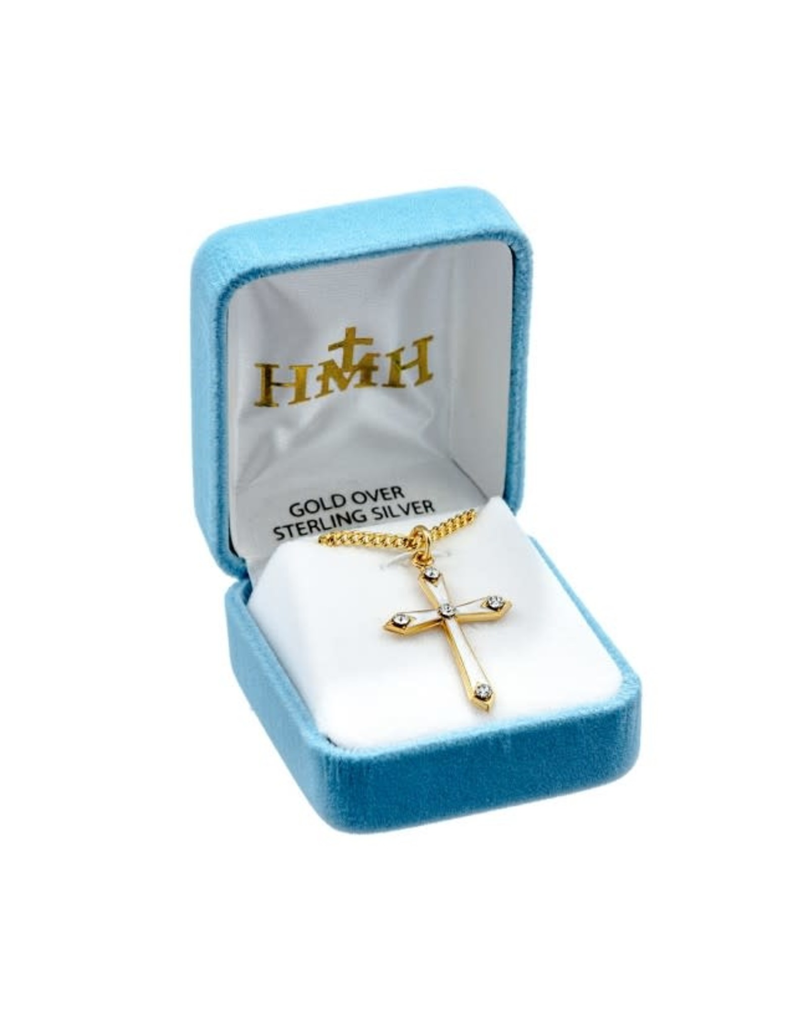 """HMH 16 Karat Gold Over Sterling Silver Mother of Pearl Cross with Stones on 18"""" Chain, Boxed"""