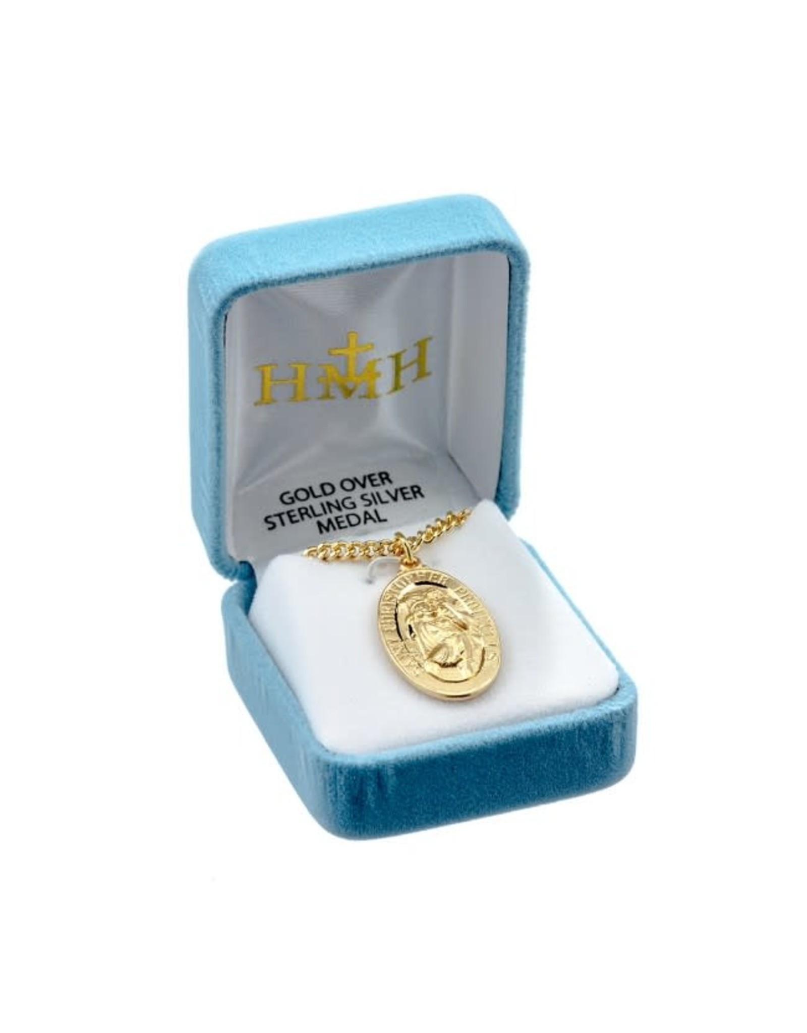 """HMH 16 Karat Gold over Sterling Silver Oval St. Christopher Medal on 24"""" Chain, Boxed"""