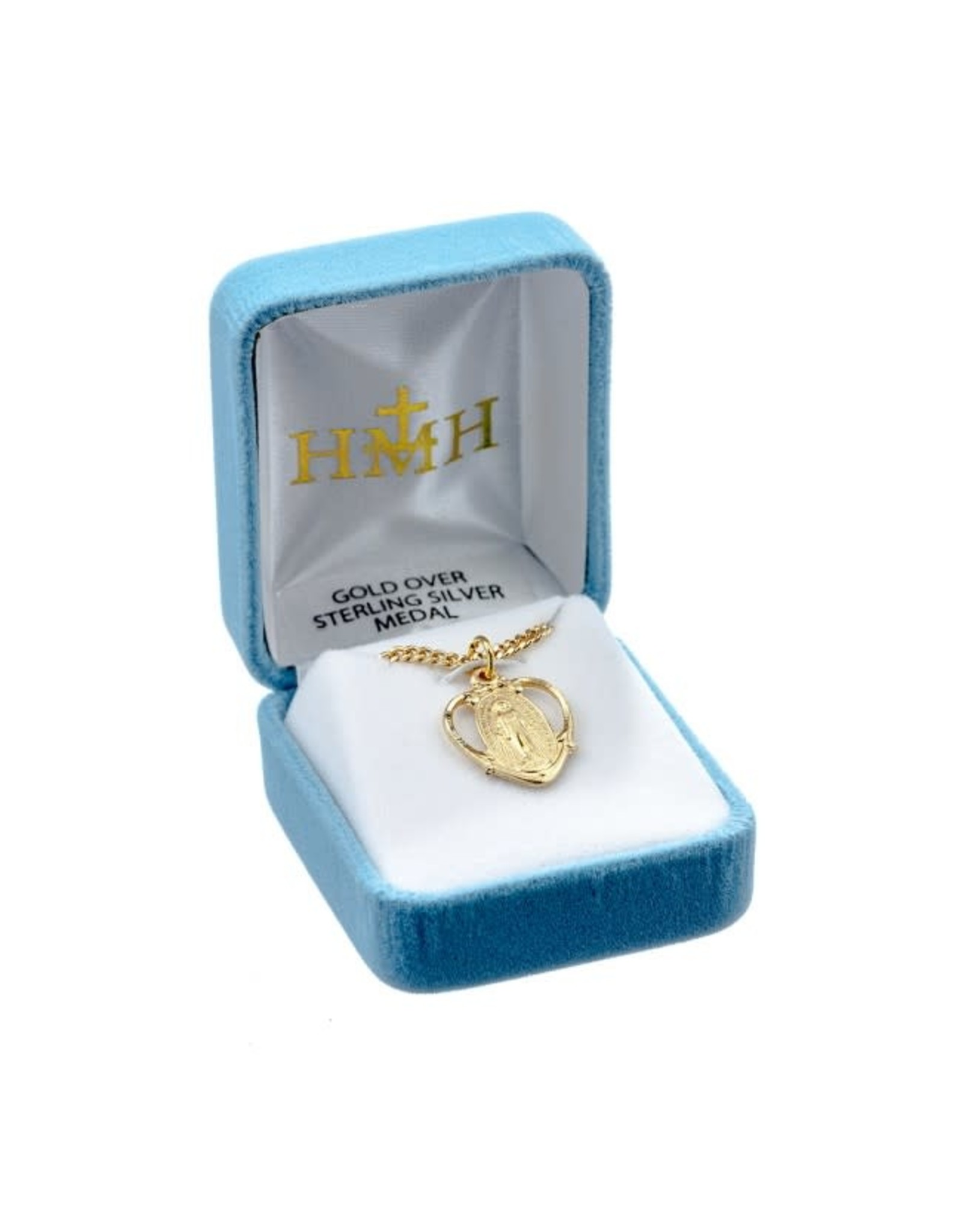 """HMH 16 Karat Gold Over Sterling Silver Pierced Heart Shaped Miraculous, 18"""" Chain, Boxed"""