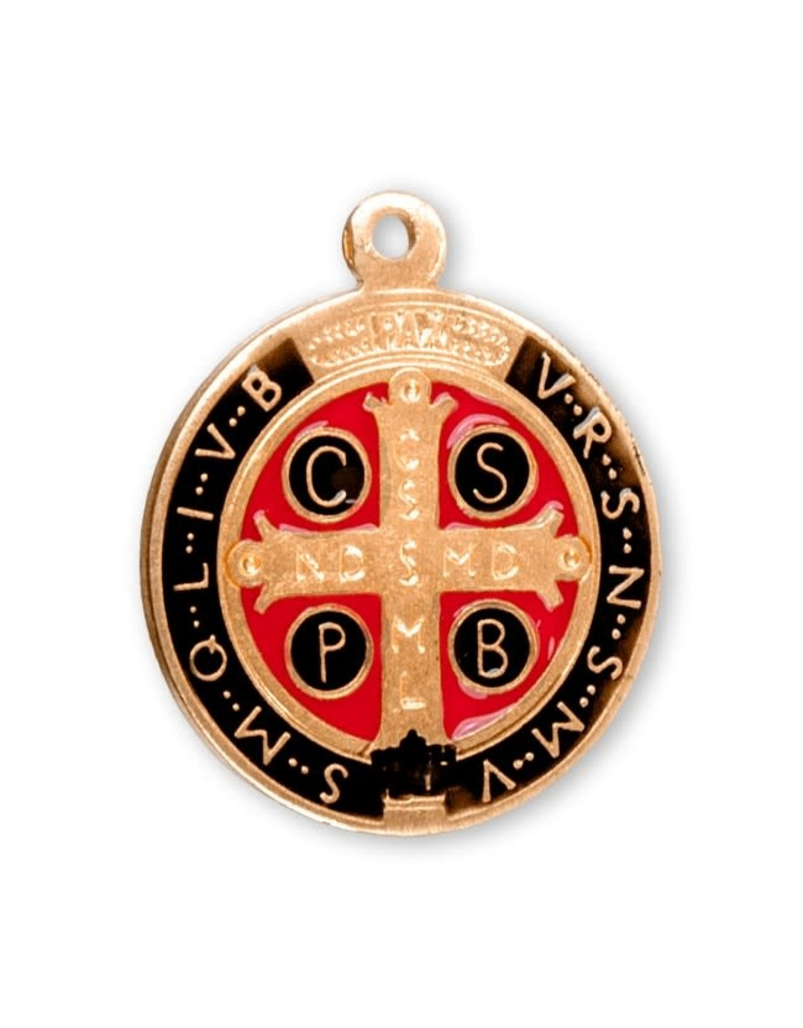 """HMH 16 Karat Gold Over Sterling Silver Round St. Benedict Jubilee Medal on 18"""" Chain, Boxed"""