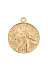 """HMH 16 Karat Gold Over Sterling Silver Round St. Christopher/St. Raphael Medal on 24"""" Chain, Boxed"""