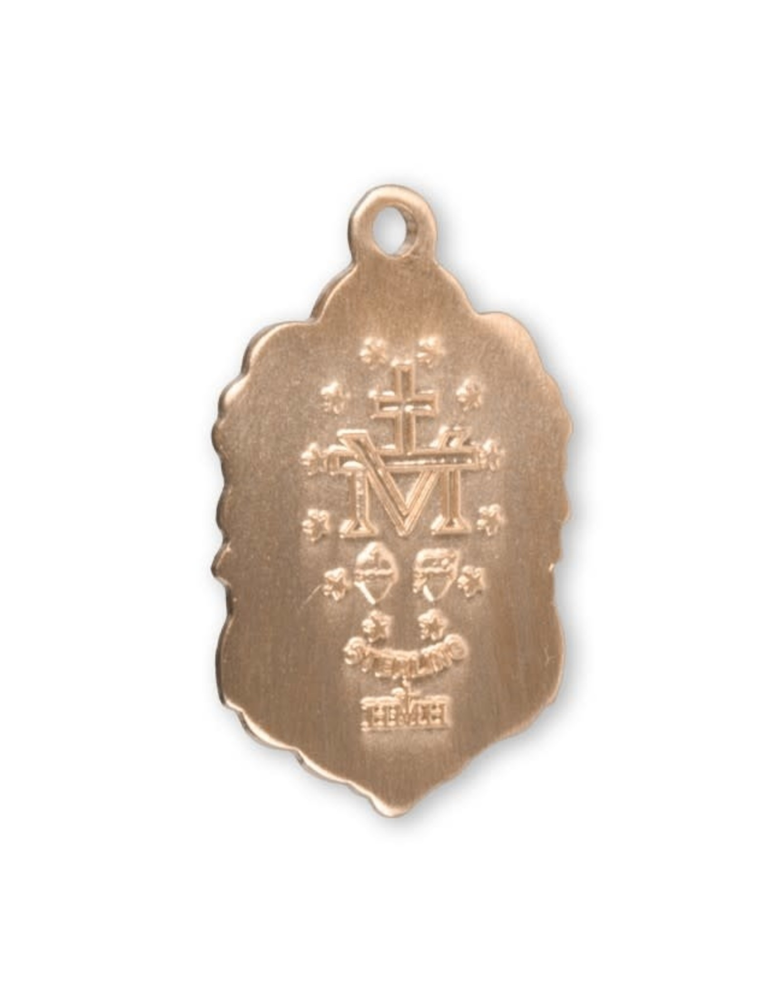 """16 Karat Gold over Sterling Silver Small Fancy Miraculous Medal with 18"""" Chain, Boxed"""