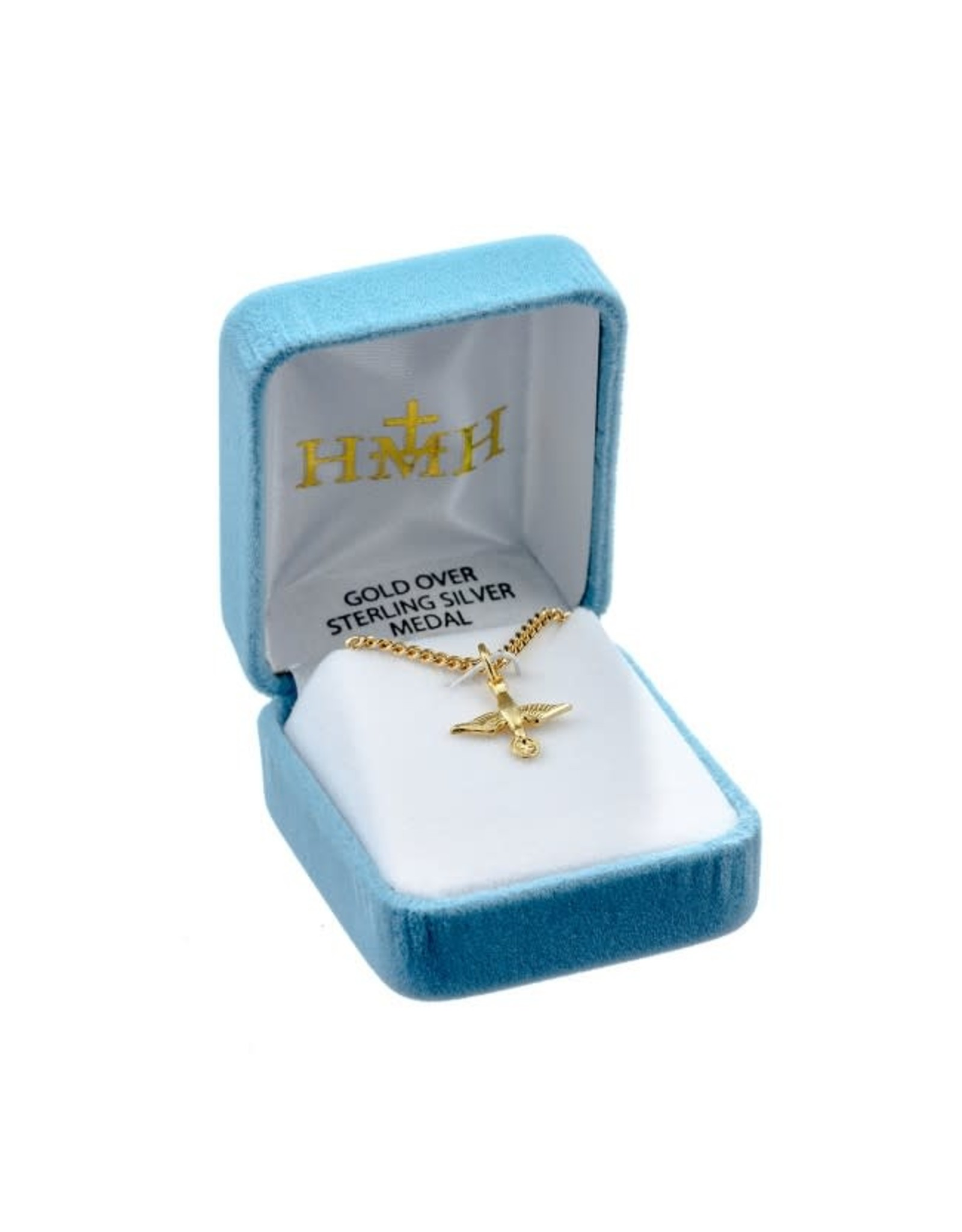 """HMH 16 Karat Gold Over Sterling Silver Small Holy Spirit Medal on 18"""" Chain, Boxed"""