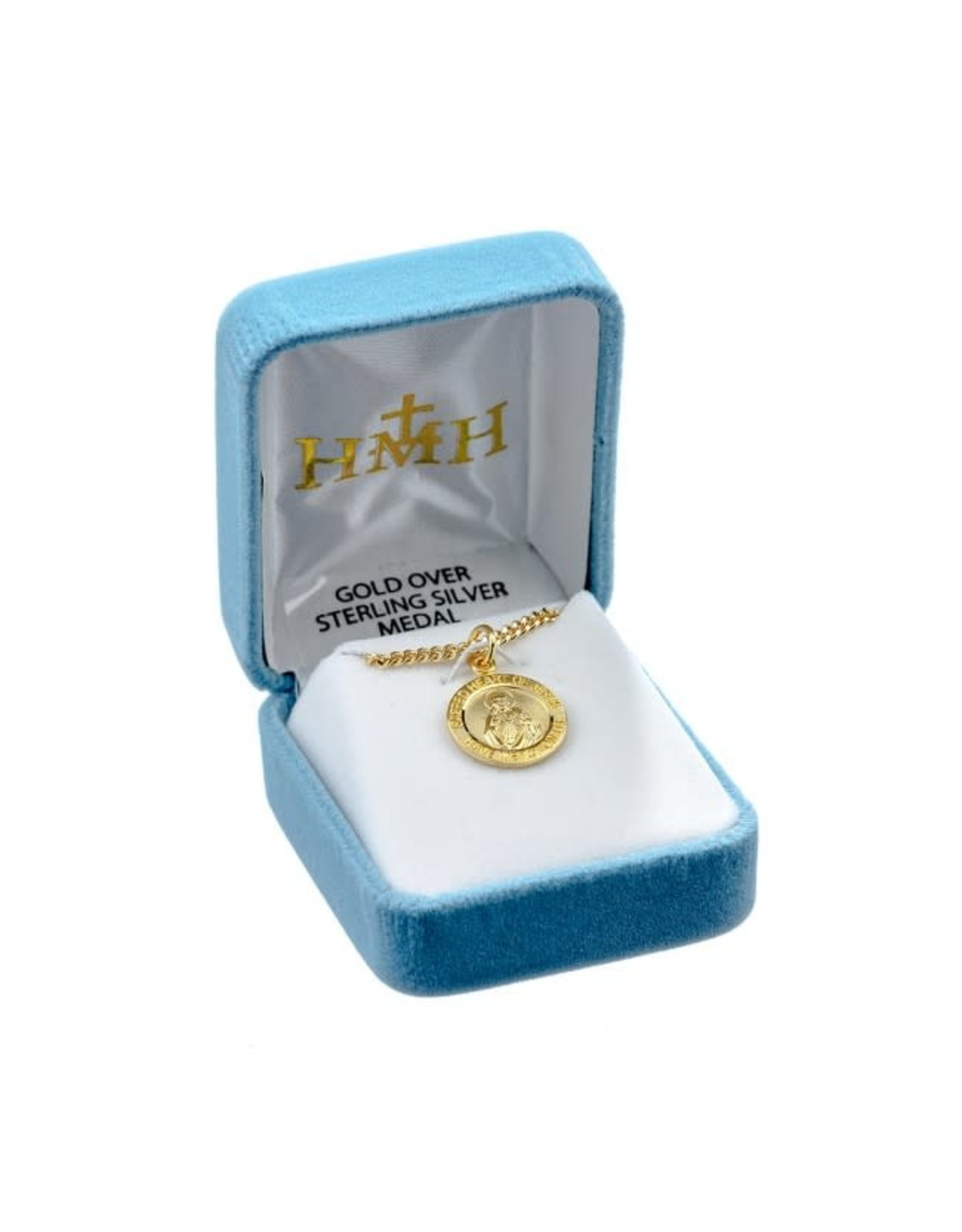 """HMH 16 Karat Gold Over Sterling Silver Small Round Sacred Heart of Jesus Medal on 18"""" Chain, Boxed"""