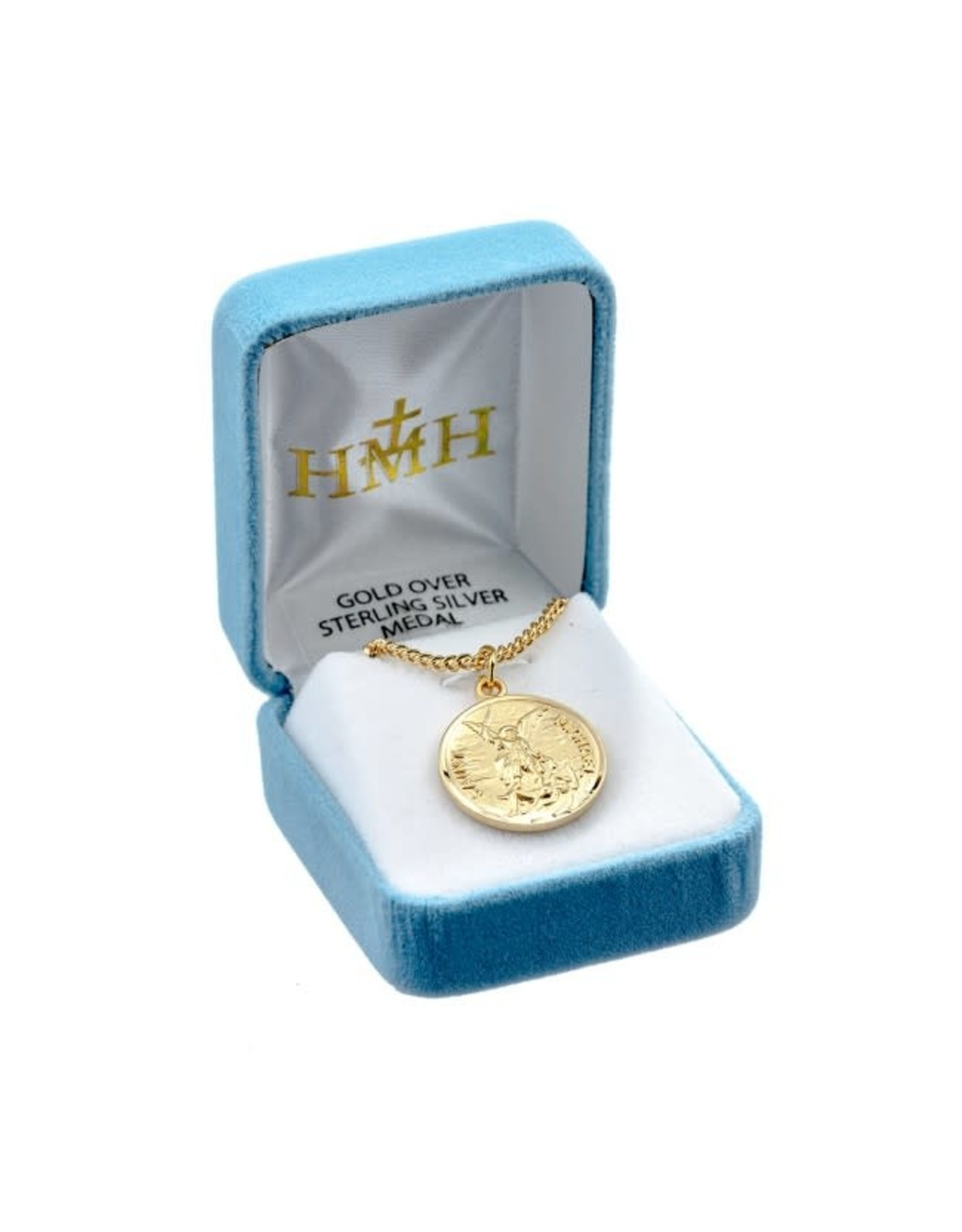 """HMH 16 Karat Gold Over Sterling Silver St. Michael Medal with Prayer Back on 24"""" Chain, Boxed"""
