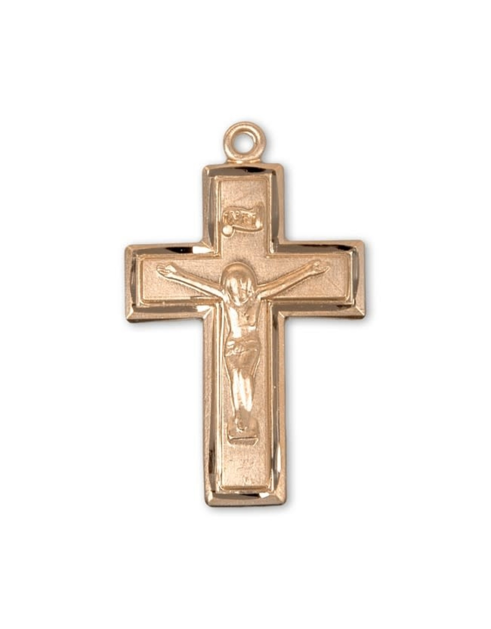 """HMH 16 Karat Gold Over Sterling Small Crucifix with Border on 18"""" Chain, Boxed"""