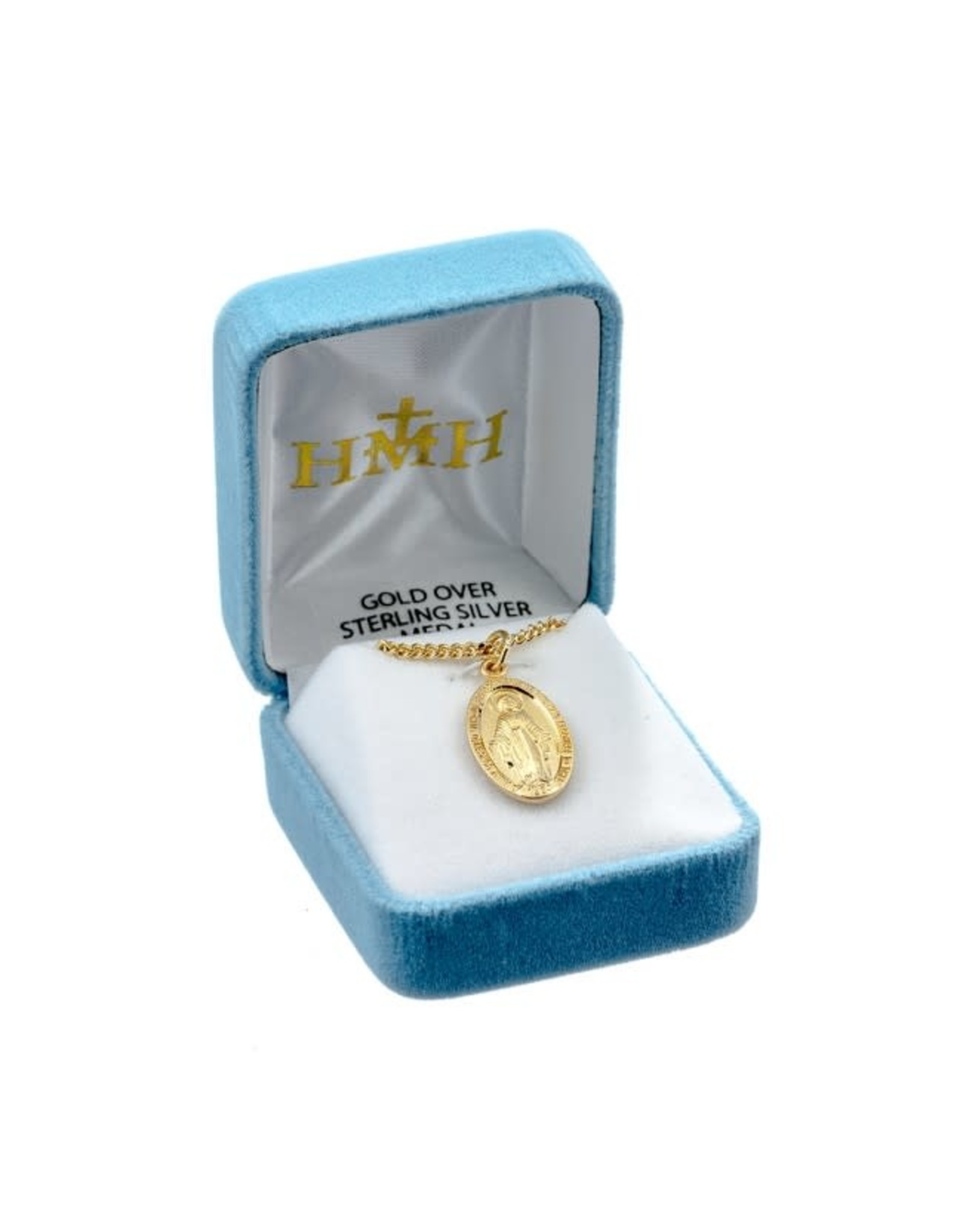 """HMH 16 Karat Gold Over Sterling Small Oval Miraculous Medal with 18"""" Chain, Boxed"""