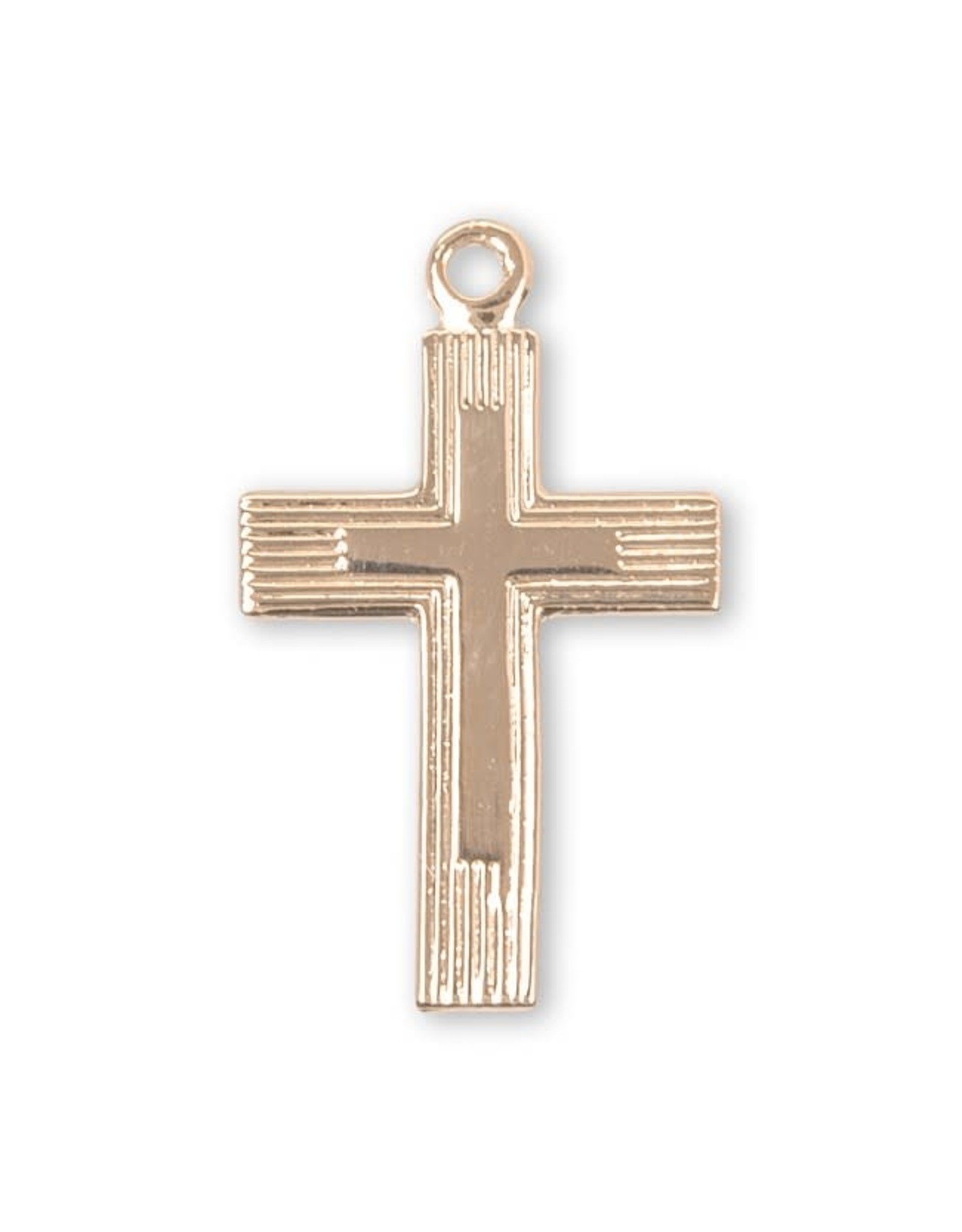 """HMH 16 Karat Gold Over Sterling Tiny Fancy Cross on 18"""" Chain, Boxed"""