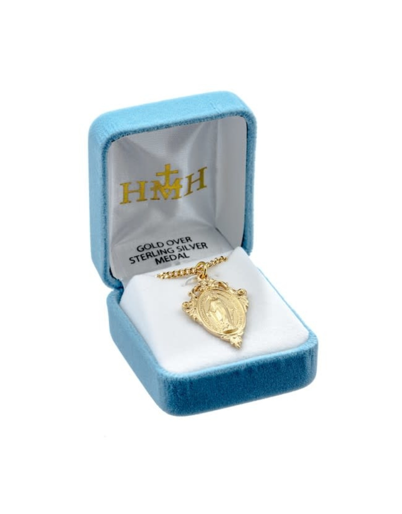 """HMH 16K Gold over Sterling Silver Fancy Miraculous Medal with Pierced Scroll on 18"""" Chain, Boxed"""