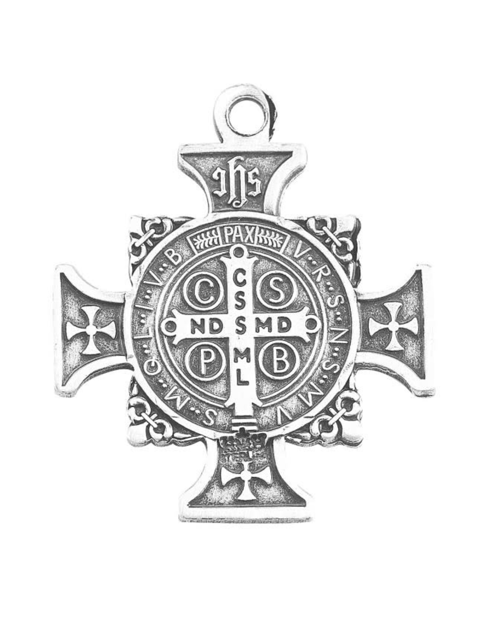 """HMH 1"""" Sterling Silver St. Benedict Cross Medal on 24"""" Chain, Boxed"""