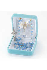 """HMH 4mm Aqua Color Faceted Cube Shaped Glass Beaded Rosary with Solid Sterling Silver Crucifix and Center, 20"""", Boxed"""