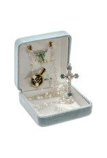 HMH 4mm Freshwater Pearl Rosary with Sterling Silver Flower Heart Enameled Center and Crucifix, Boxed