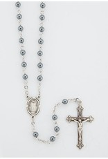 HMH 4mm Hematite Rosary with Sterling Silver Center and Crucifix, Boxed