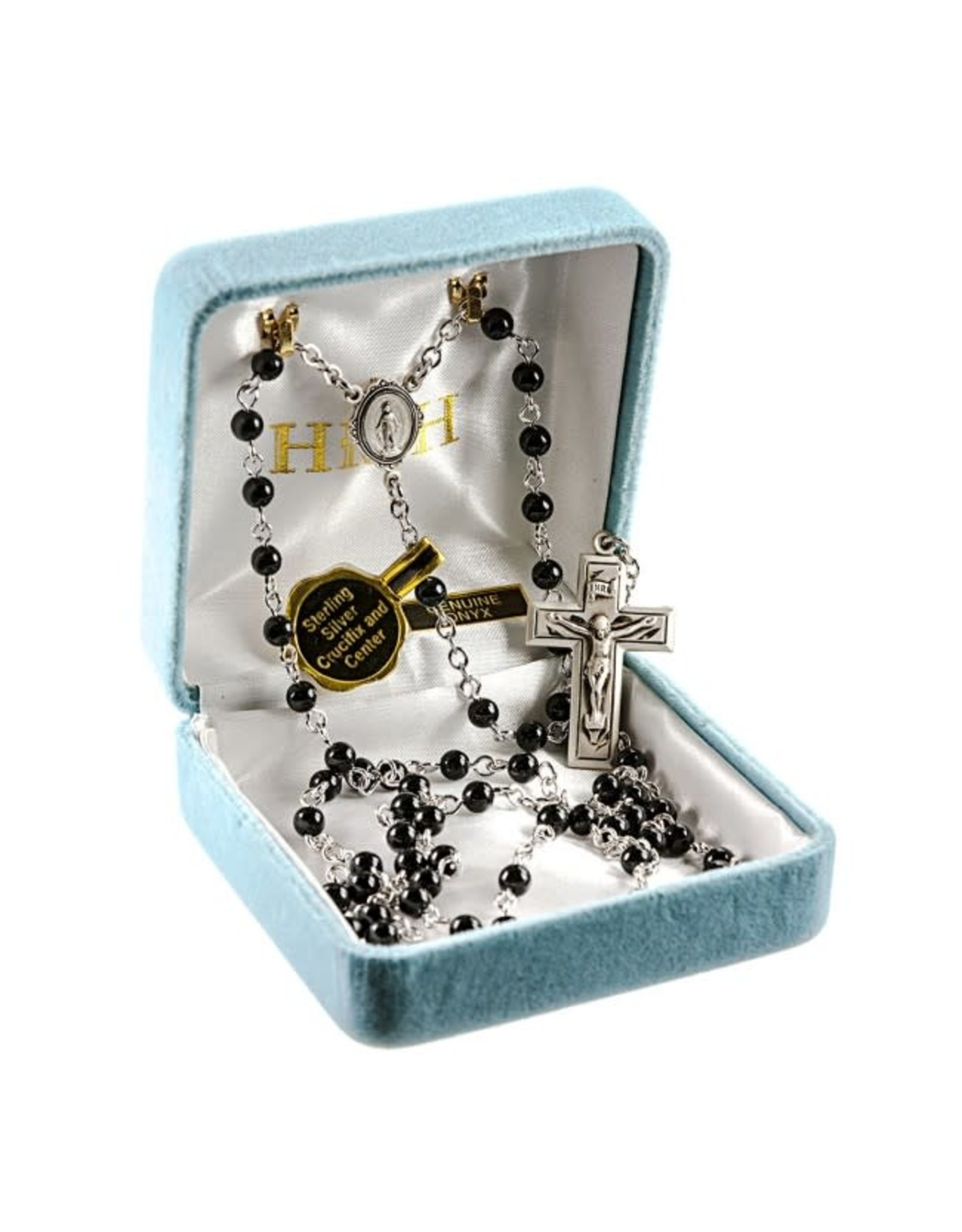 HMH 4mm Onyx Rosary with Sterling Silver Center and Crucifix, Boxed