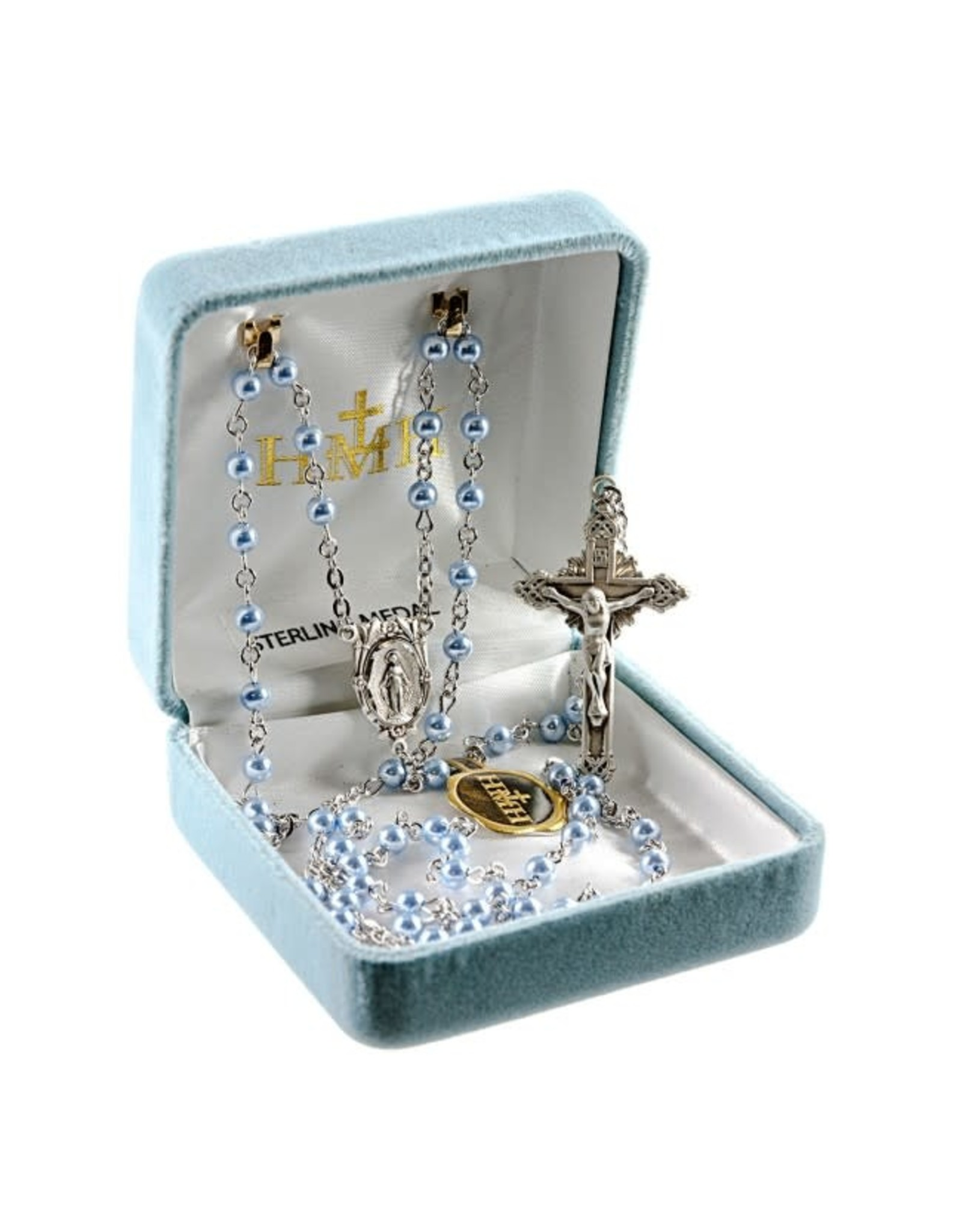 HMH 4mm Swarovski Blue Pearl Rosary with Sterling Silver Center and Crucifix, Boxed