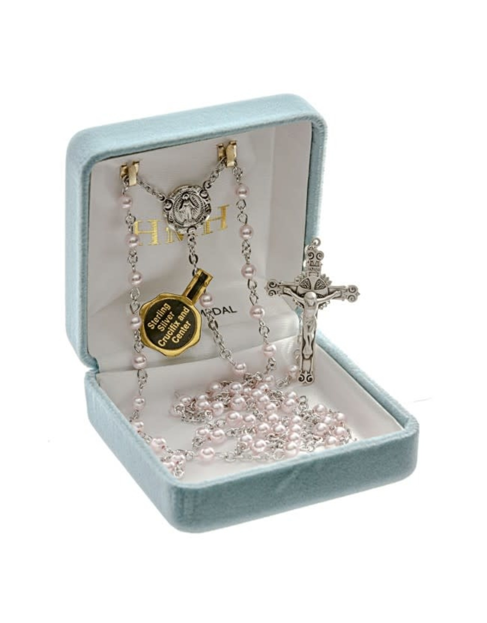 HMH 4mm Swarovski Pink Pearl Rosary with Sterling Silver Center and Crucifix, Boxed