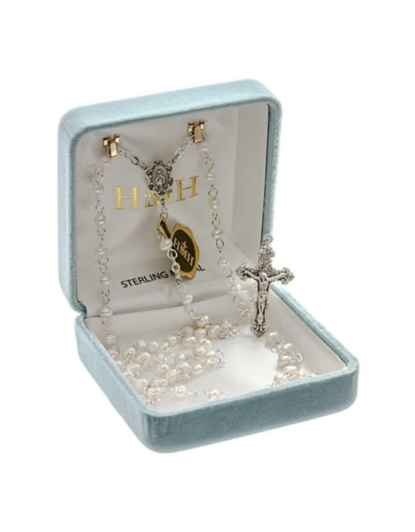 HMH 4mm White Freshwater Pearl Rosary with Sterling Silver Center and Crucifix, Boxed