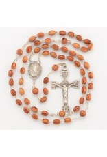 HMH 5 x 7mm Rosewood Rosary with Sterling Silver Center and Crucifix, Boxed