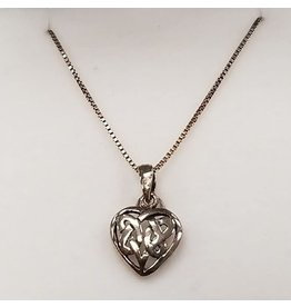 Timeless Irish Treasures Celtic Knot Heart Sterling Silver Necklace