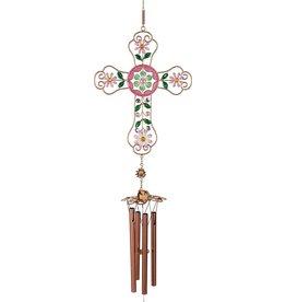 Angel Star Rose Mosaic Cross Chime
