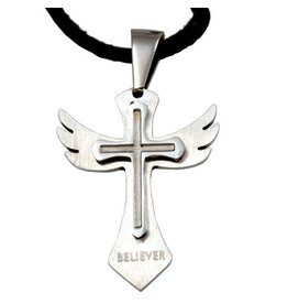 Forgiven, LLC Stainless Wing Cross Believer